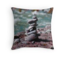 Rock Sculpture by the River Throw Pillow