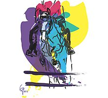 Horse jumping in colour Photographic Print