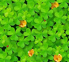 Saint Patrick's clovers pattern with golden coins and ladybugs by 1enchik