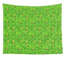 Saint Patrick's clovers pattern with golden coins and ladybugs Wall Tapestry