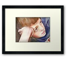 Watching TV, watercolor on paper Framed Print