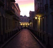Old San Juan at night by lynnmike2005