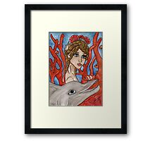 Big eyed mermaid and sea creatures Framed Print