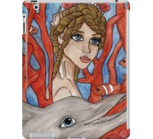 Big eyed mermaid and sea creatures iPad Case/Skin
