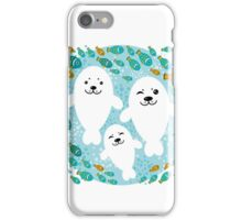 White cute fur seal and fish in water iPhone Case/Skin