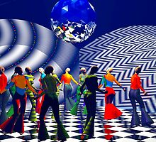 The Hippy(girls with big hips), Hippie Chick(girls who were hippies), at a Bellbottom, Discoball, Retro, Ex-Krishna Member Dance! by Ann Morgan