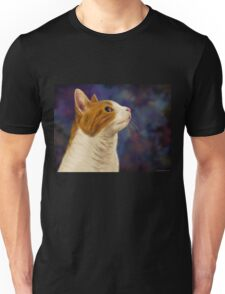 Cute Brown and White Furry Cat Looking to Right Unisex T-Shirt