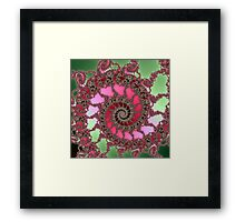 Complex Spiral in Pink and Green Framed Print