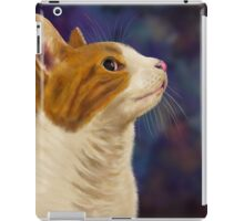 Cute Brown and White Furry Cat Looking to Right iPad Case/Skin