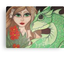 Dragon and fairy fantasy art, big eyes Canvas Print