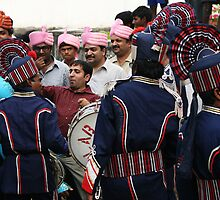 Pink Turbans, Blue Drummers by Jane McDougall