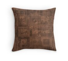 Grungy Abstract Brown Cube Pattern Throw Pillow