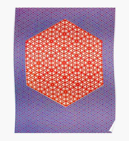 Silicon Atoms HyperCube Purple Orange Poster