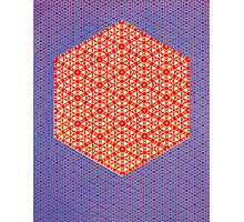 Silicon Atoms HyperCube Purple Orange Photographic Print