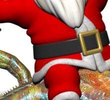 Santa Claus Riding On Giant Panther Chameleon Sticker
