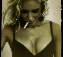 Blonde girl and cigarettes by Avriah