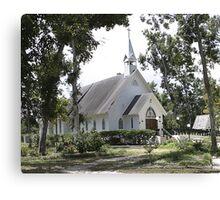 Small White Church in Titusville Fl. Canvas Print