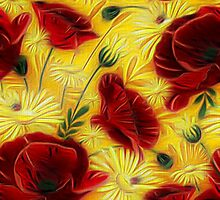 Painted Poppies and Daisies by Darlene Lankford Honeycutt