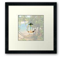 Cool Summery Anchor and Tropical Beach Scene Framed Print