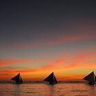 Sunset Line of Sailboats by davidleahy