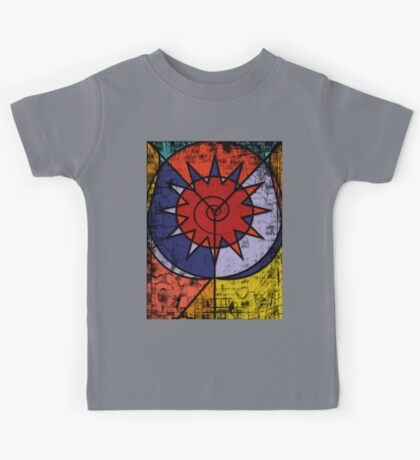 Digital Graffiti of Tribal Symbol in Red, Blue and Yellow Kids Tee