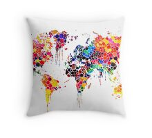 World map in watercolors  Throw Pillow