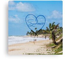 "Painted ""Summer"" Heart Typography Beach Scene  Canvas Print"