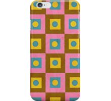 Retro Style Pink,Brown and Yellow Pattern iPhone Case/Skin