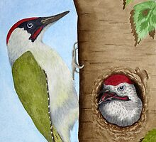 Woodpeckers on a tree by aquartistic