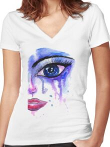 Painted Stylized Face Women's Fitted V-Neck T-Shirt