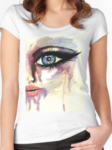 Painted Stylized Face 2 Women's Fitted Scoop T-Shirt