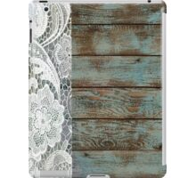 Western Country distressed turquoise Barn Wood white Lace iPad Case/Skin