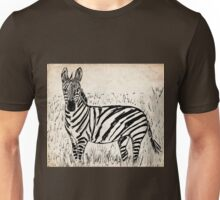 Cool Zebra Scribble on Old Paper Unisex T-Shirt