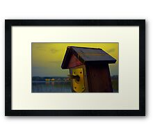 A fishtail coming out from a birdhouse entrance Framed Print