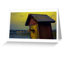 A fishtail coming out from a birdhouse entrance Greeting Card