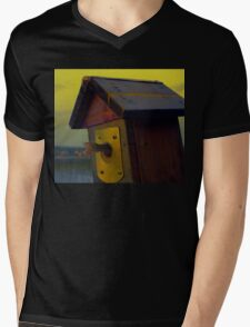 A fishtail coming out from a birdhouse entrance Mens V-Neck T-Shirt