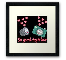 kawaii Camera and Lens love design Framed Print