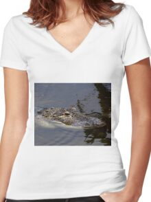 Dragon And Gator Women's Fitted V-Neck T-Shirt