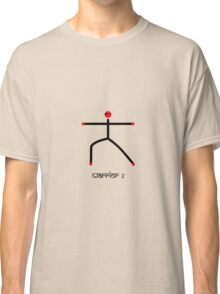 Stick figure of warrior 2 yoga pose & Sanskrit Classic T-Shirt