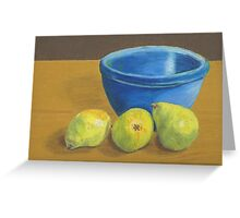 Pears on Desk with Bowl Greeting Card