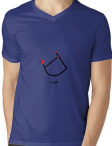 Stick figure of bow yoga pose with yoga text. Mens V-Neck T-Shirt