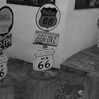 Historic ROUTE 66 at Seligman.  by Finbarr Reilly