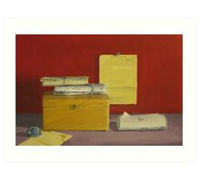 Letters, Chess Box and Silver Bracelet Art Print