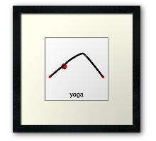 Stick figure of downward dog pose with yoga text. Framed Print