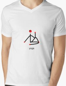 Stick figure-half lord of the fishes & yoga text. Mens V-Neck T-Shirt