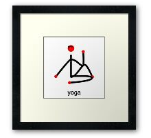 Stick figure-half lord of the fishes & yoga text. Framed Print