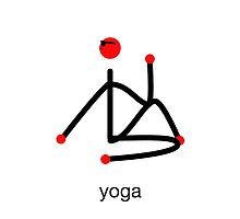 Stick figure-half lord of the fishes & yoga text. by Mindful-Designs