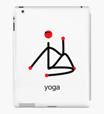Stick figure-half lord of the fishes & yoga text. iPad Case/Skin