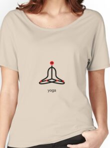 Stick figure of lotus yoga pose with yoga text. Women's Relaxed Fit T-Shirt