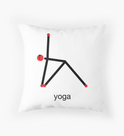 Stick figure of triangle yoga pose with yoga text. Throw Pillow